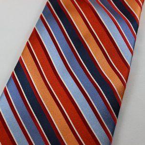 Ted Baker Silk Neck Tie Red Blue Multicolor Stripe
